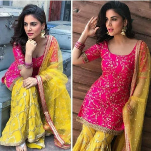 Yellow-Pink Silk Embro Sharara Suit