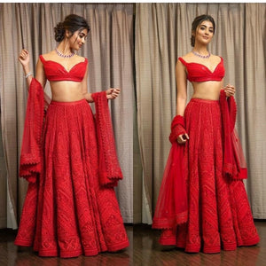 Red Heavy Georgette Embro Lehnga
