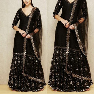 Black Georgette-Net Foil Work Sharara Suit