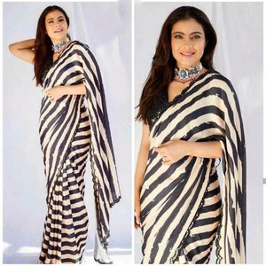 Kajol Black-White Georgette Saree