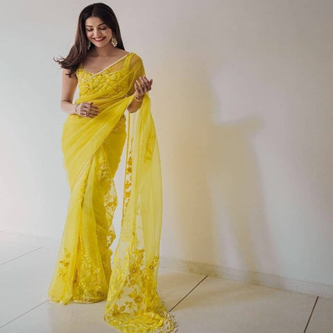 Yellow Organza Embroidered Saree