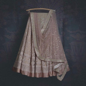 Lilac Soft Net Embroidered Lehnga