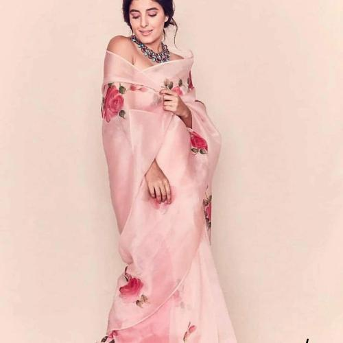 Pink Rose Organza Saree
