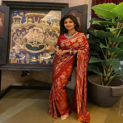 Red Dola Silk Foil Printed Saree