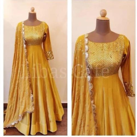Yellow Silk-Georgette Gown