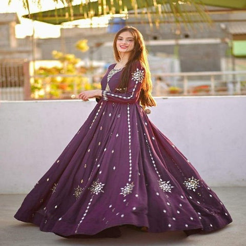 Purple Georgette Mirror Work Gown