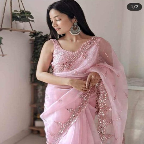 Organza Real Mirror Work Saree