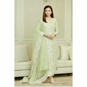 Light ElaichiGreen Cotton Aari Work Suit