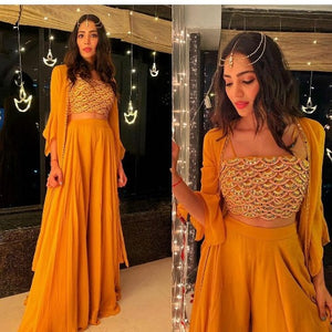 Yellow Georgette Koti Style Indo Dress