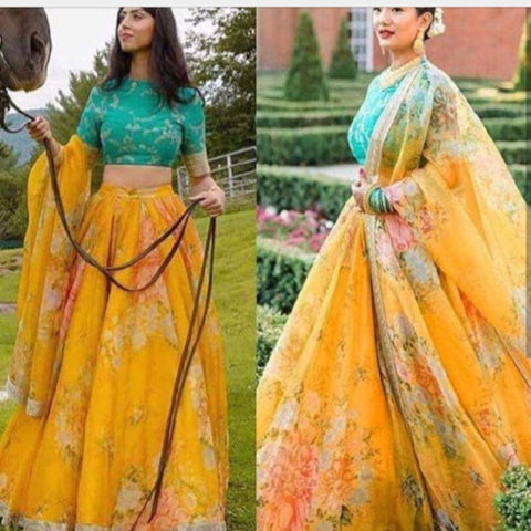 Yellow-Georgette Floral Printed Lehnga - Lehnga - ShopaholicsChoice
