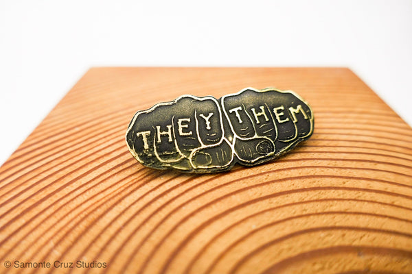 They Them Brass Knuckle Tattoo Pin | Limited Edition (small) - Samonte Cruz Studios