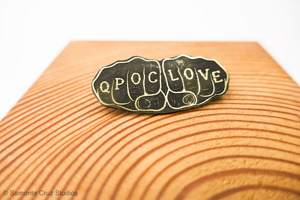 QPOC Love Brass Knuckle Tattoo Pin | Limited Edition (small) - Samonte Cruz Studios