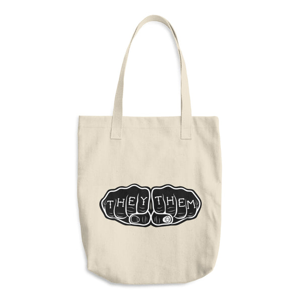 THEY THEM Knuckle Tattoo | Cotton Tote Bag - Samonte Cruz Studios