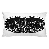 THEY THEM Knuckle Tattoo | Rectangular Pillow - Samonte Cruz Studios