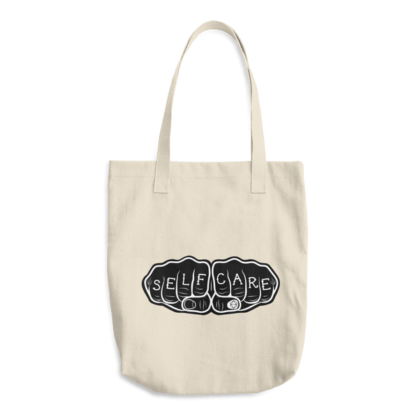 Self-Care Knuckle Tattoo | Cotton Tote Bag - Samonte Cruz Studios