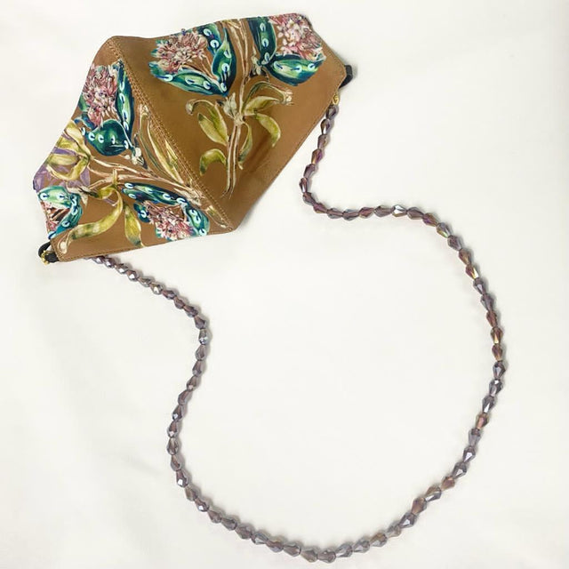 Embroidered Brown Leaf Mask With Chain