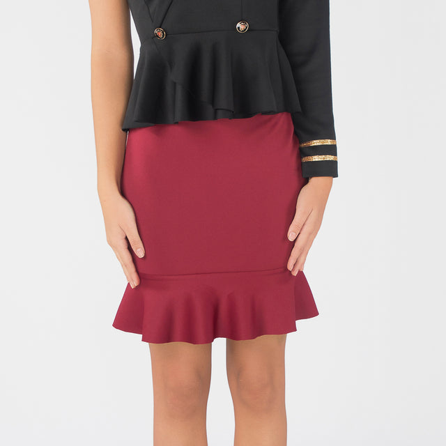 BURGUNDY SHEF SKIRT