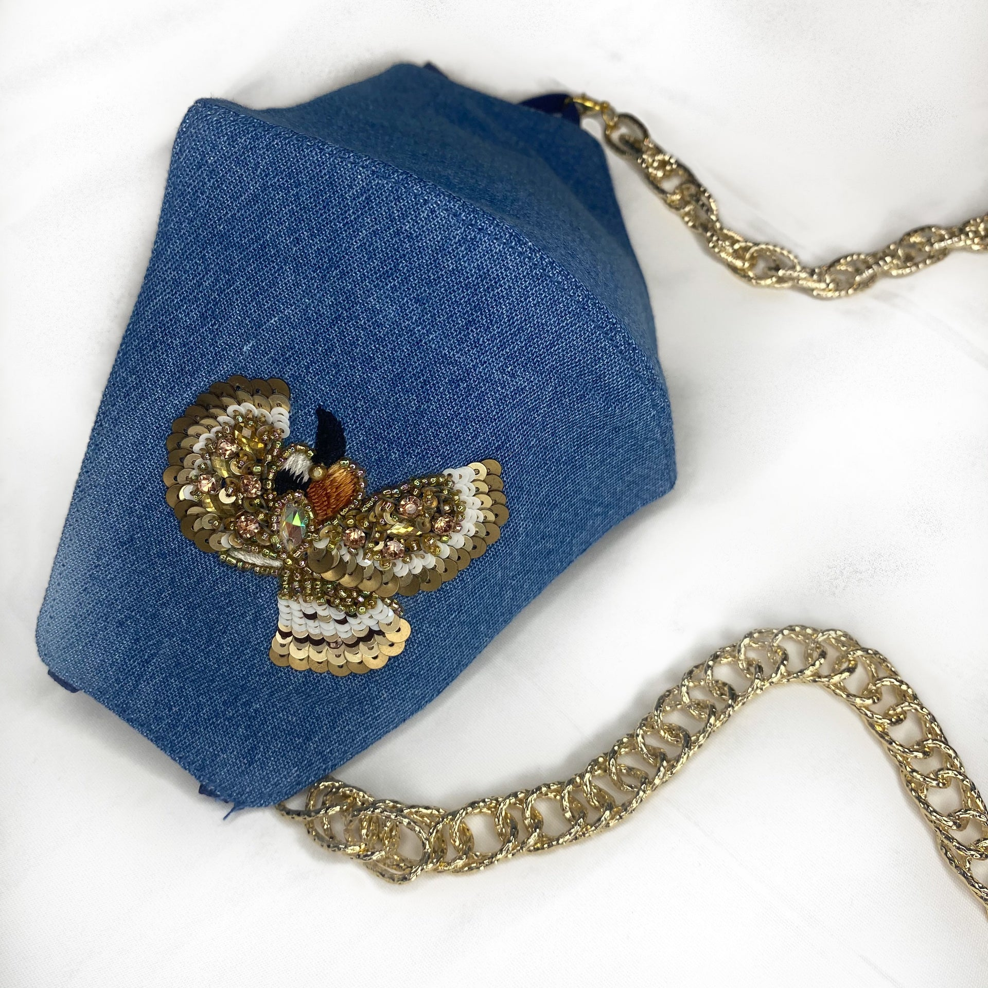 Embroidered Denim Mask With Chain - Gold Bird