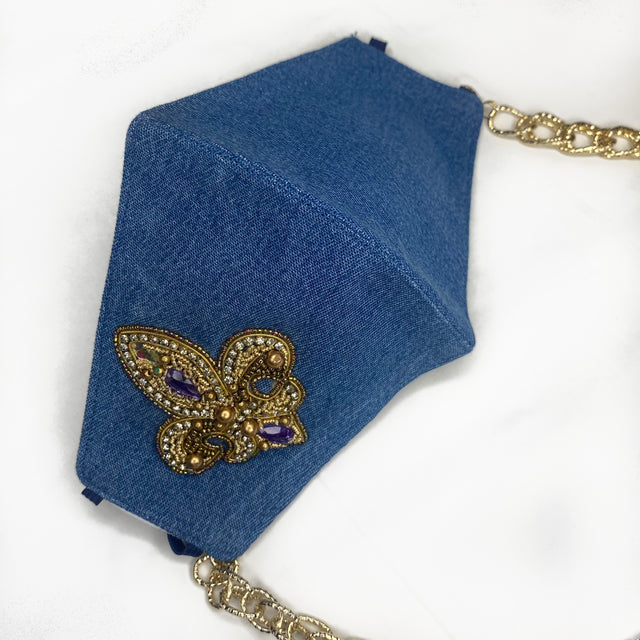 Embroidered Denim Mask With Chain - Gold Emblem