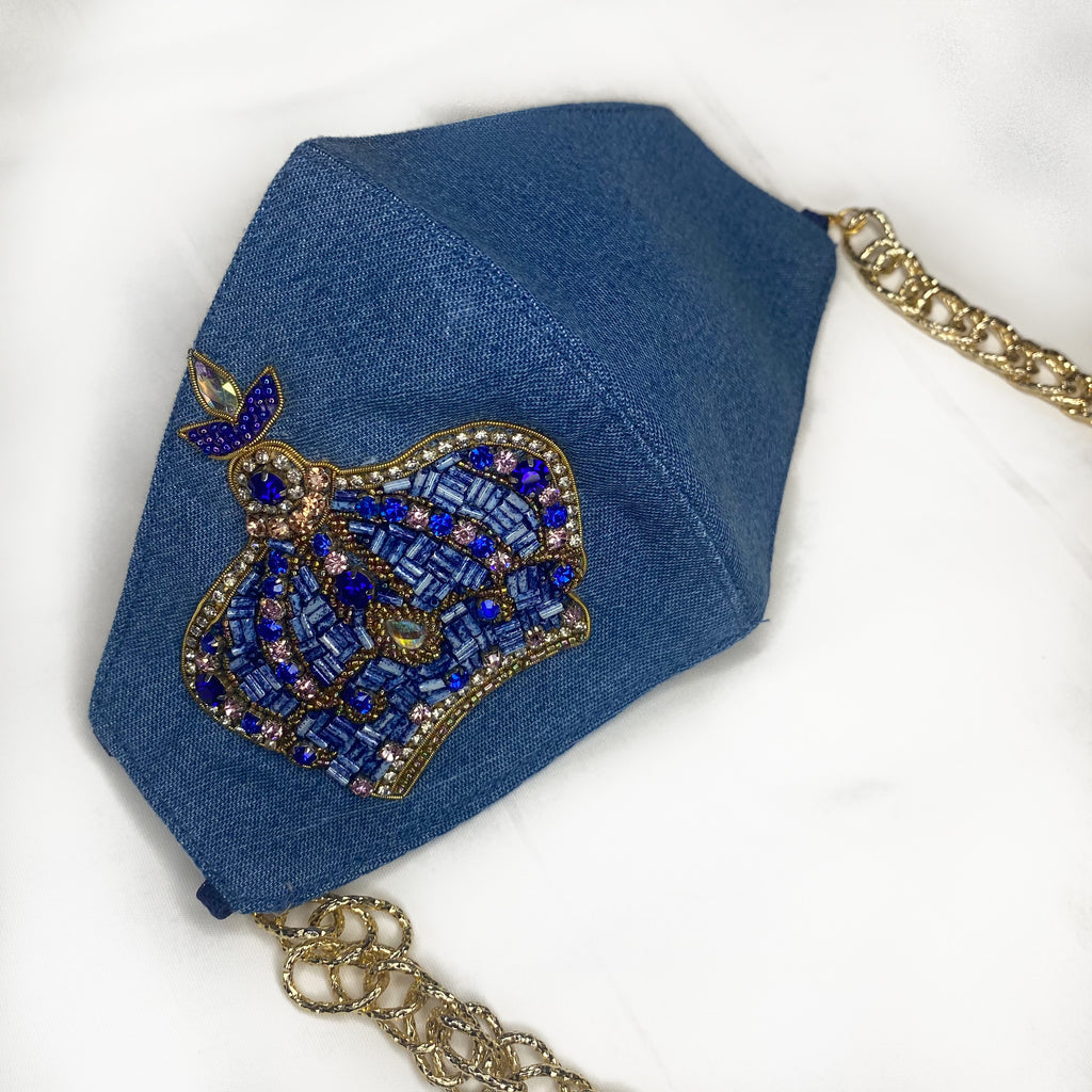 Embroidered Denim Mask With Chain - Crown