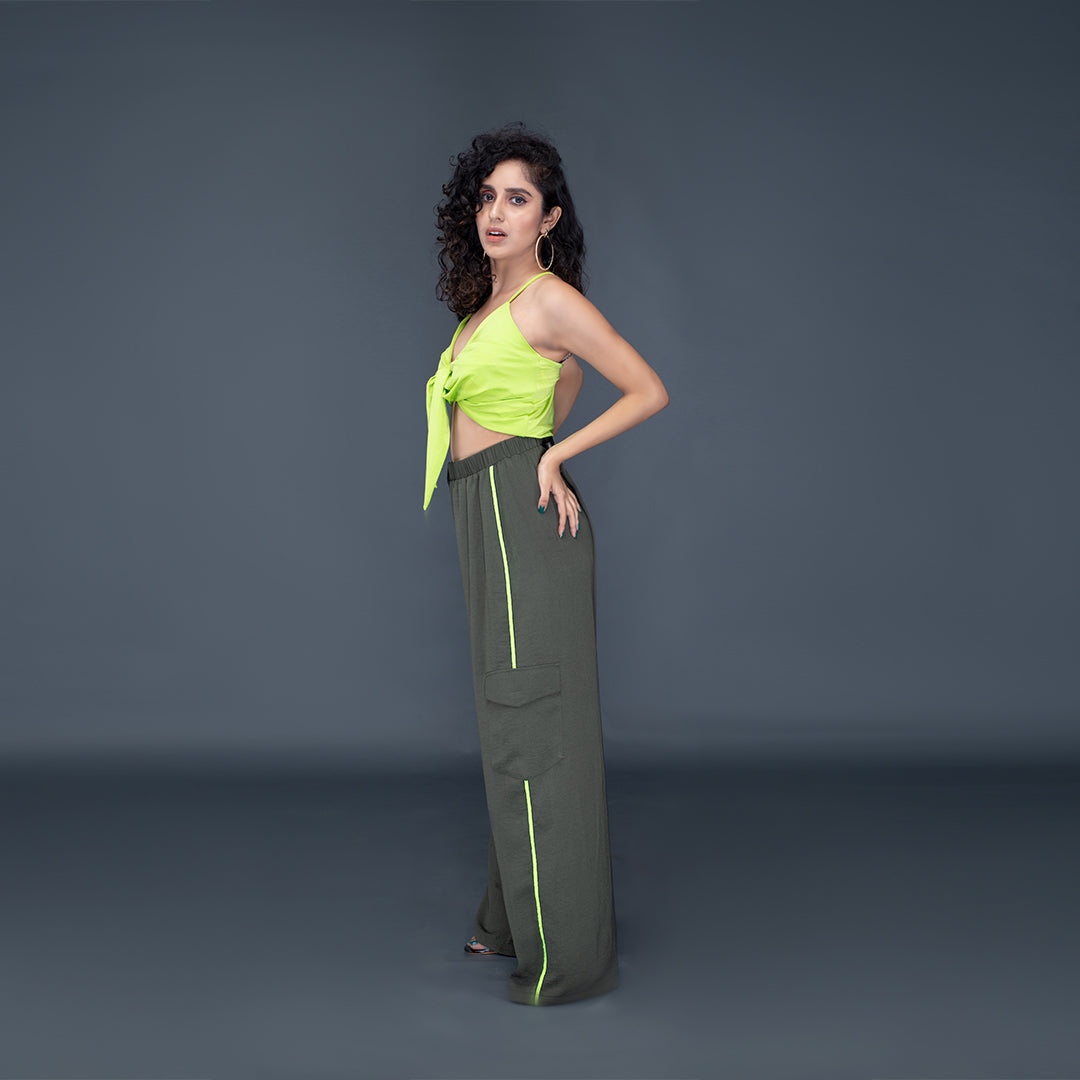 OLIVE GREEN BROOKLYN WIDE LEG PANTS