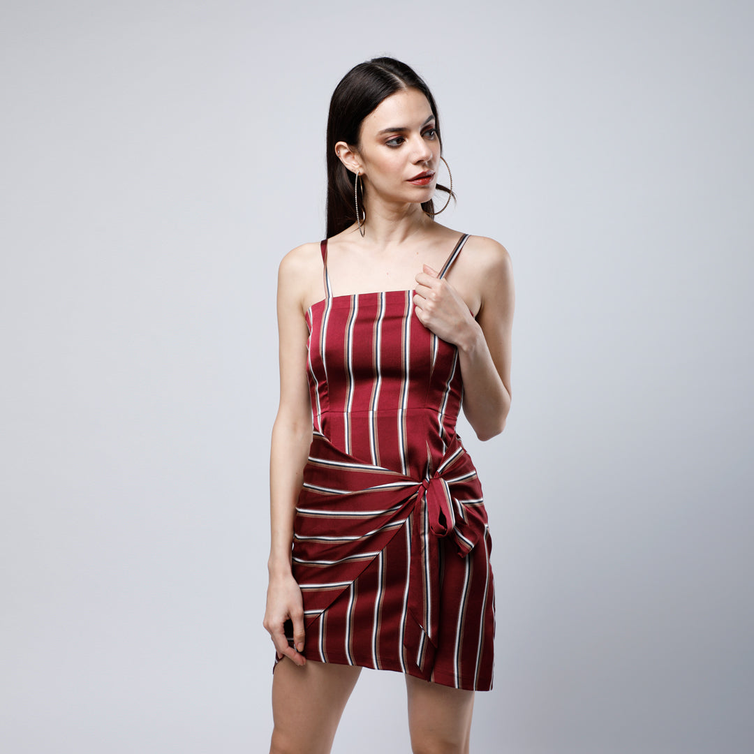 RED STRIPES CHLOE DRESS