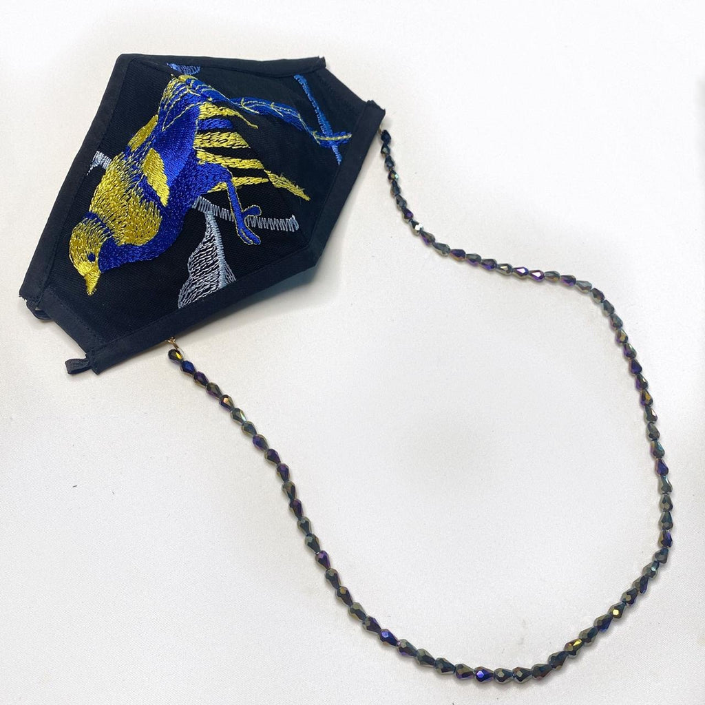 Embroidered Bird Mask With Chain - Blue