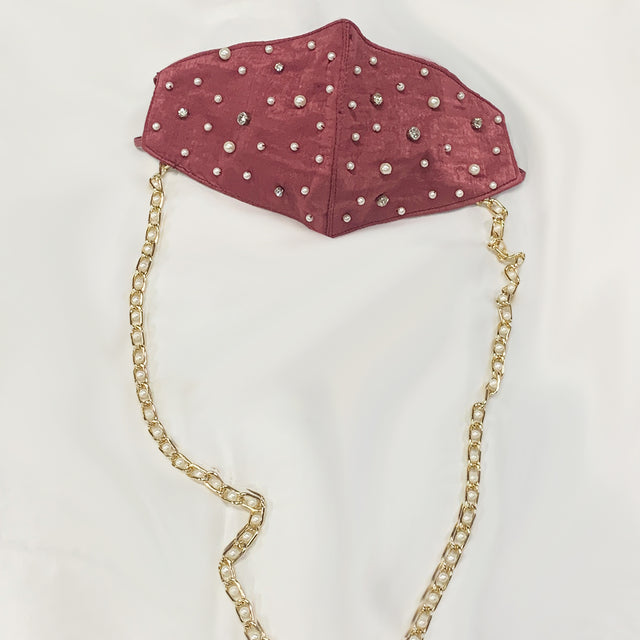 Pearl Mask With Chain - Burgundy