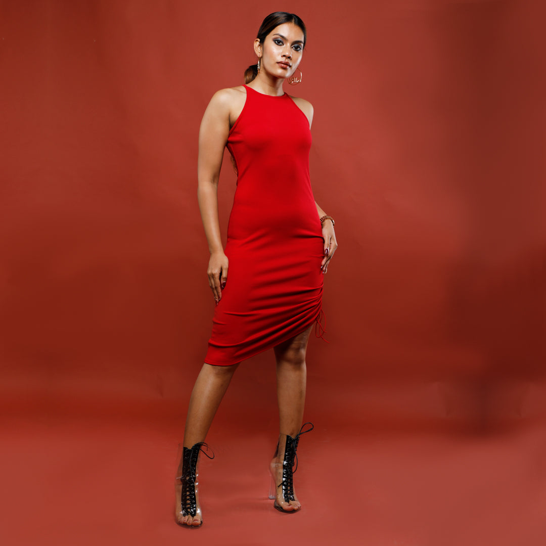 RED RIBBED REESE DRESS