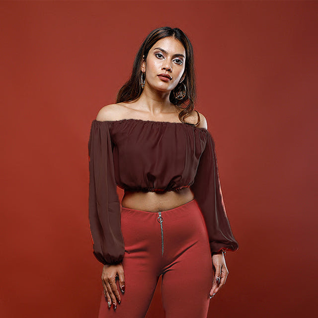 WINE (BURGUNDY) JASMINE CROP TOP