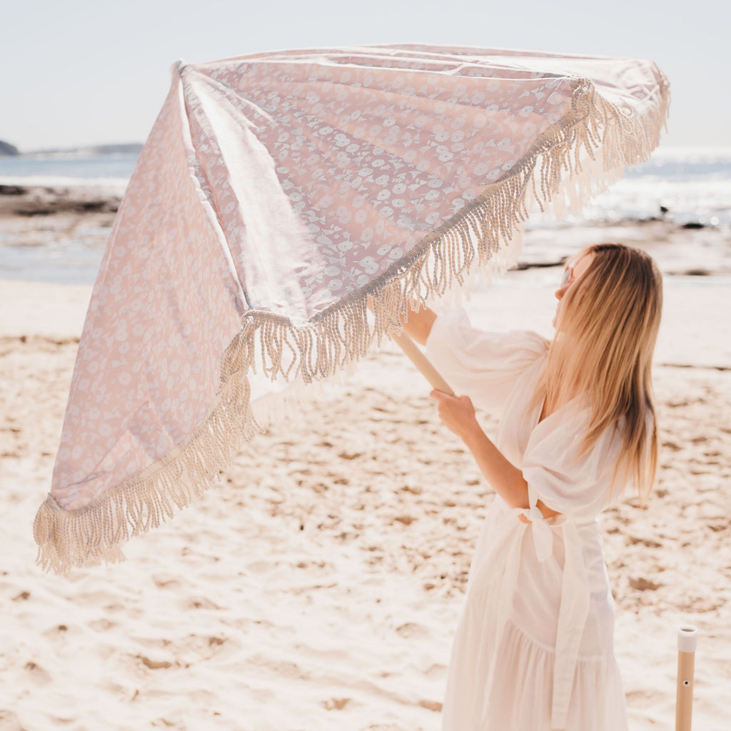 Recycled Beach Umbrella Vintage Floral