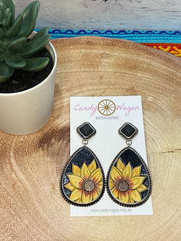 Leather and Silver Black Sunflower Earrings