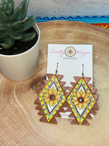 Aztec Leather Sunflower Earrings