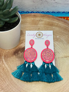 Pink and Turquoise Crystal and Tassel Earrings