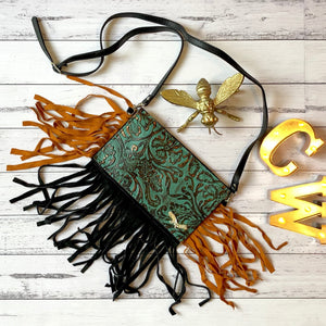 Leather Cross Body Fringe Bag