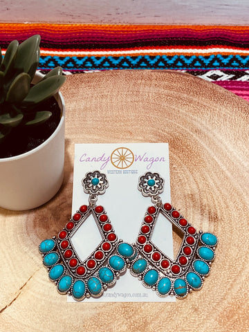 Turquoise and Red Chandelier Earrings