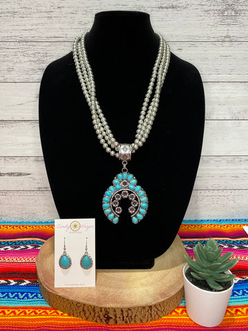 Floral Squash Blossom and Bead Necklace Set