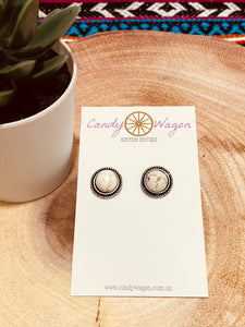 White Buffalo and Silver Stud Earrings