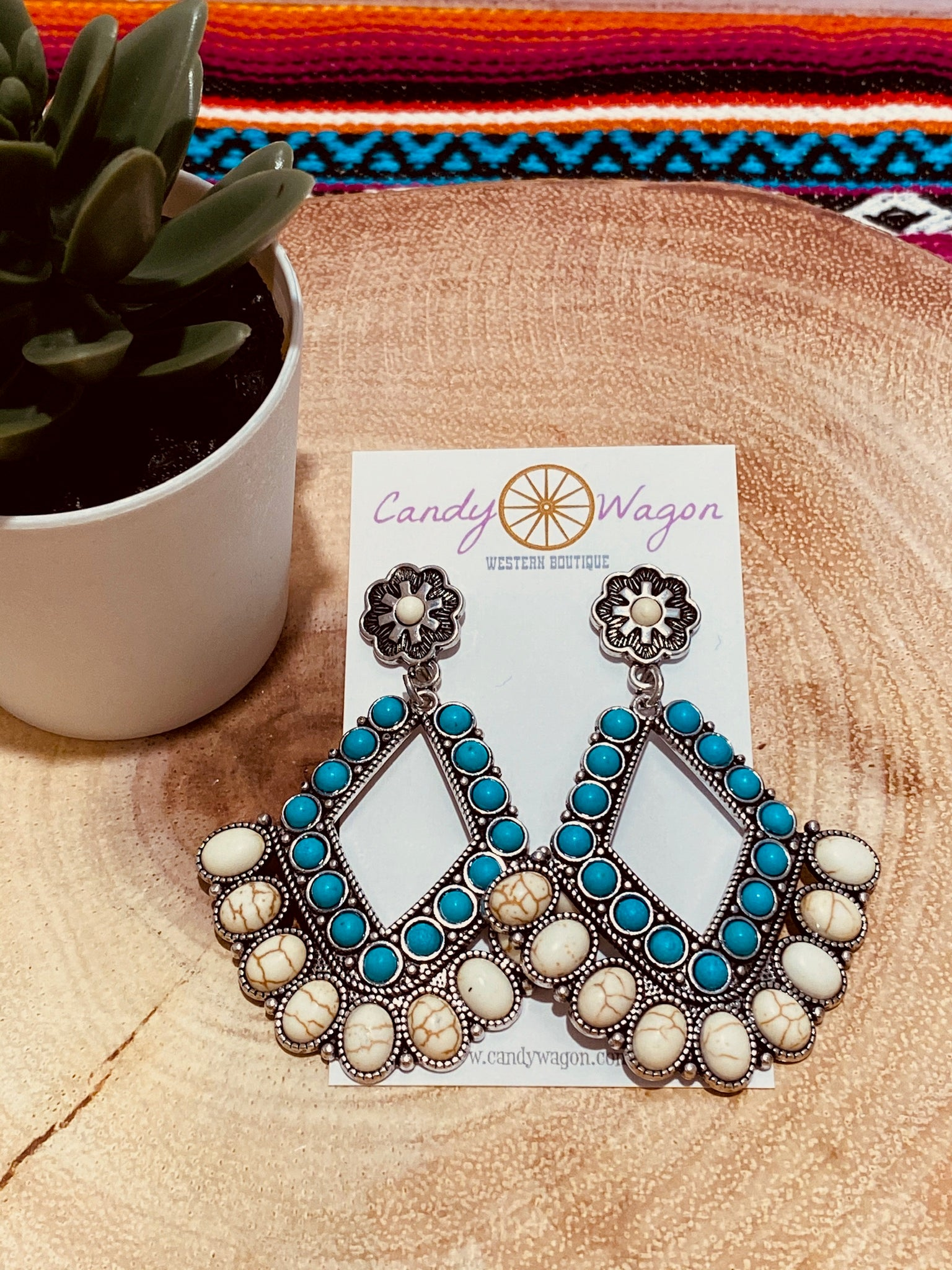 Turquoise and White Chandelier Earrings