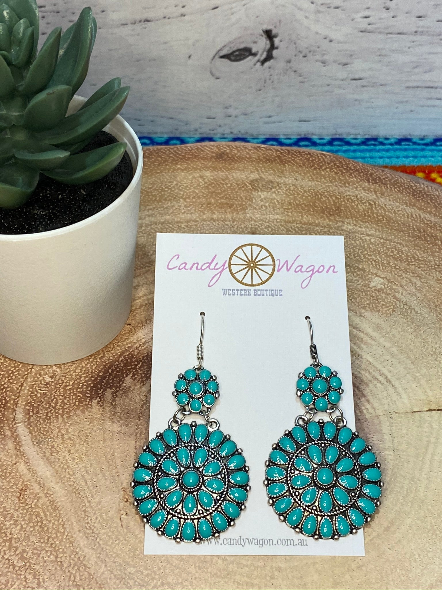 Turquoise Concho Fish Hook Earrings