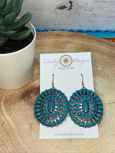 Turquoise Single Concho Earrings