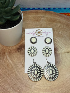 3 Pair Concho Earrings Set - Natural