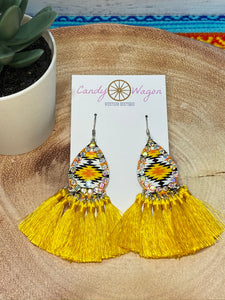 Aztec Yellow Teardrop Tassel Earrings