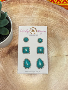 3 Pair Stone Earrings Set - Turquoise