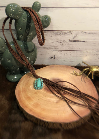 Turquoise Pendant and Suede Necklace