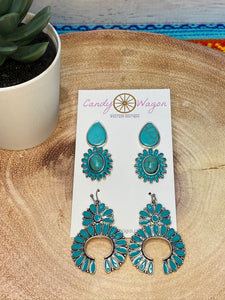 3 Pair Squash Blossom Earrings Set - Turquoise