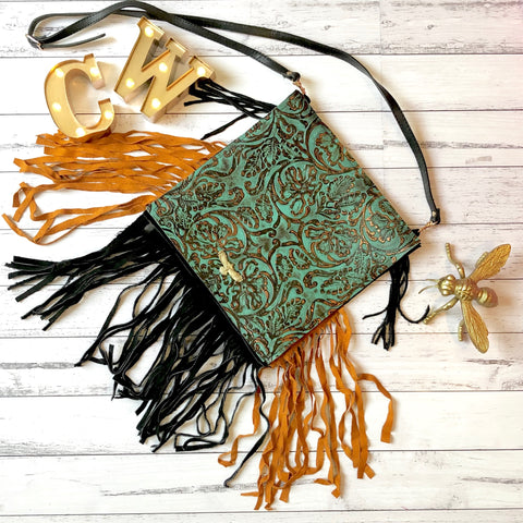 Genuine Leather Fringe Messenger Bag