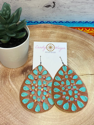 Tan Leather Teardrop Crystal Earrings