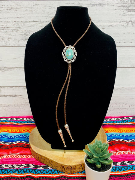 Faux Leather and Turquoise Bolo Necklace