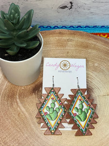 Aztec Leather Cactus Earrings